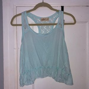 Teal lace crop top